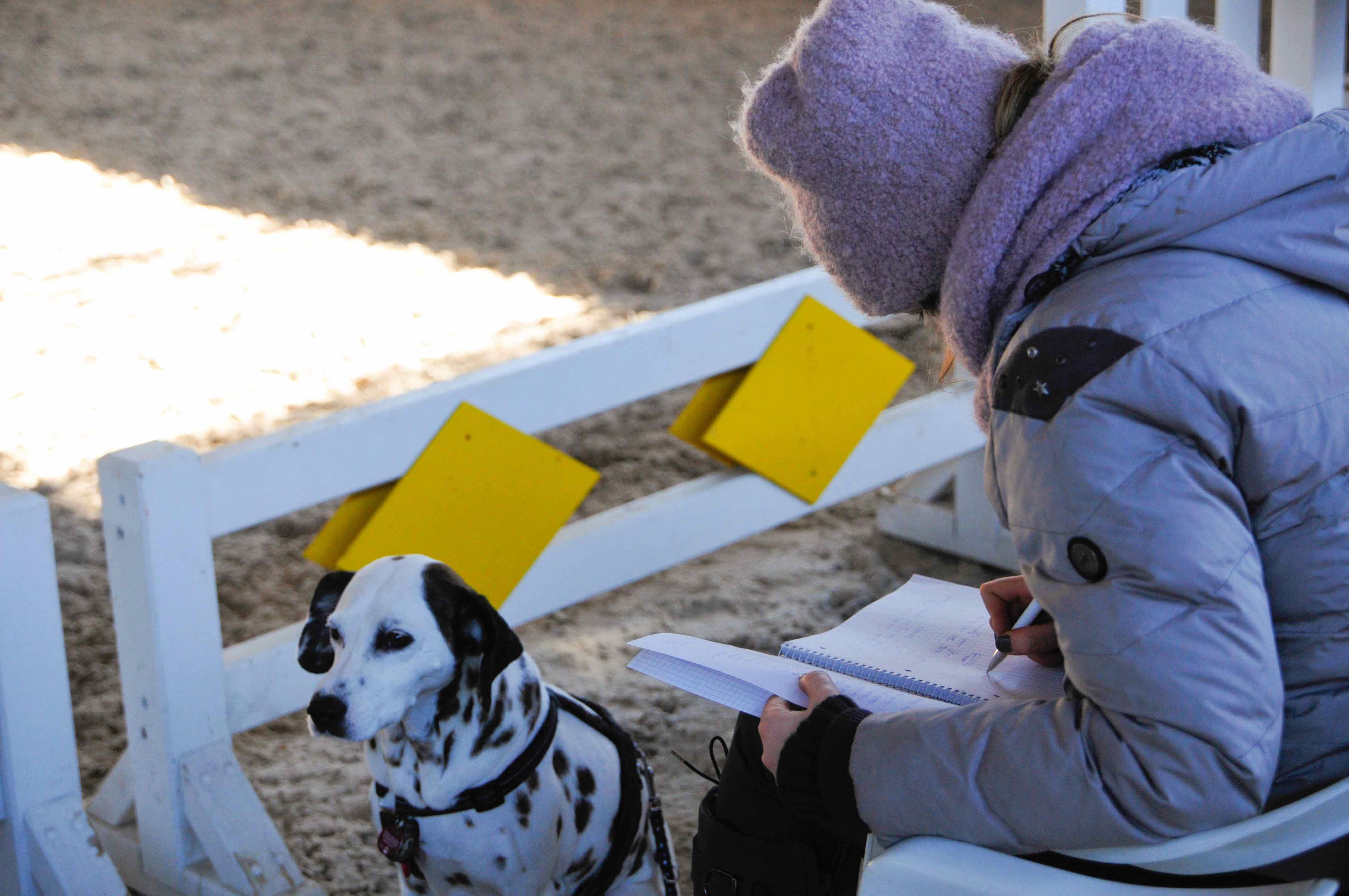 Kursteilnehmerin in Reithalle macht sich Notizen, Hund sitzt vor ihr.