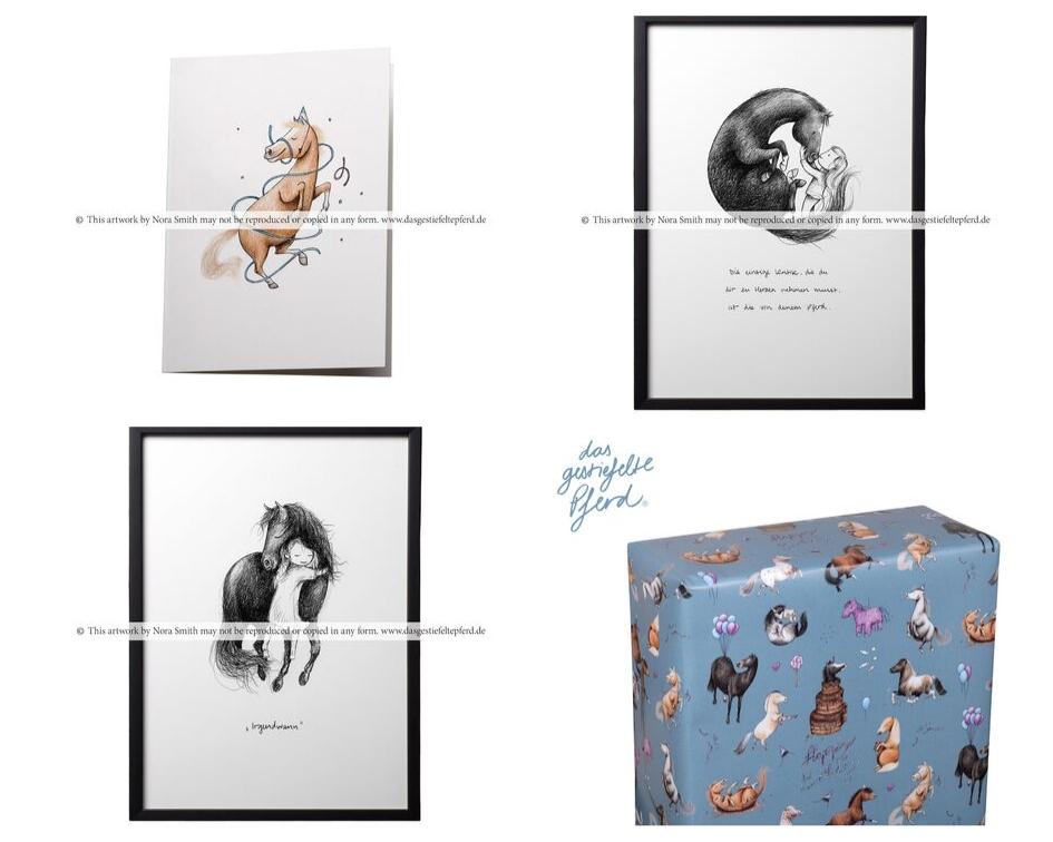 Vier Produkte der Illustratorin Nora Smith werden gezeigt, Zeichnungen von Ponys