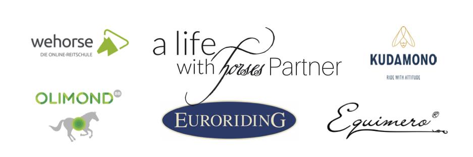 Partnerlogos alifewithhorses: wehorse olimond euroriding equimero kudamono